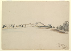 'Part of the Fort of Bukur from the left bank of the Indus.  12 Dec. 1840'